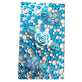 7 Flower 3D Crystal Bling Diamond Rhinestone Jewellery stickers for mobile phone cases covers - Blue