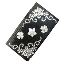 Flower 3 Crystal Bling Diamond Rhinestone Jewellery stickers for mobile phone cases covers - Black