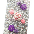 Flower 3D Crystal Bling Diamond Rhinestone Jewellery stickers for mobile phone cases covers - Pearl 7