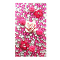 Flower 7 3D Crystal Bling Diamond Rhinestone Jewellery stickers for mobile phone cases covers - Red