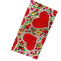 Two heart Crystal Bling Diamond Rhinestone Jewellery stickers for mobile phone cases covers - Red