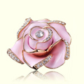 Bling 3D Camellia Flower Alloy Rhinestone Crystal DIY Phone Cover Case Deco Kit - Pink