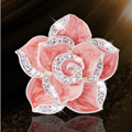 Bling Camellia Flower Alloy Rhinestone Crystal DIY Phone Case Cover Deco Kit - Pink