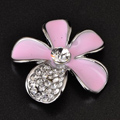 Bling Flower Alloy Metal Crystal DIY Phone Case Cover Deco Kit 25mm - Pink