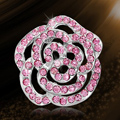 Bling Flower Alloy Rhinestone Crystal DIY Phone Cover Case Deco Kit - Pink