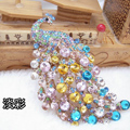 Bling Peacock Alloy Crystal Rhinestone Flatback DIY Phone Case Cover Deco Kit - Color