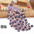 Bling Peacock Alloy Crystal Rhinestone Flatback DIY Phone Case Cover Deco Kit - Purple