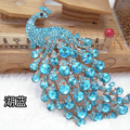 Bling Peacock Alloy Crystal Rhinestone Flatback DIY Phone Case Cover Deco Kit - Sky blue