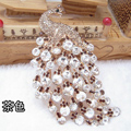 Bling Peacock Alloy Crystal Rhinestone Flatback DIY Phone Case Cover Deco Kit - Tawny