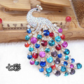 Bling Peacock Alloy Crystal Rhinestone Flatback DIY Phone Cover Case Deco Kit - Color