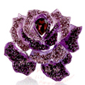 Bling Rose Flower Alloy Rhinestone Crystal DIY Phone Case Cover Deco Kit 75*80mm - Purple