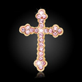 Bling Cross Alloy Rhinestone Crystal DIY Phone Case Cover Deco Kit 45*29mm - Pink