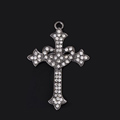 Bling Cross Alloy Rhinestone Crystal DIY Phone Case Cover Deco Kit 47*68mm - Black