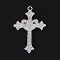 Bling Cross Alloy Rhinestone Crystal DIY Phone Case Cover Deco Kit 47*68mm - White