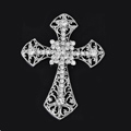 Bling Cross metal Alloy Crystal Rhinestone DIY Phone Case Cover Deco Kit 55*72mm - White