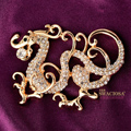 Bling Dragon Alloy Rhinestone Crystal DIY Phone Case Cover Deco Kit 50*48mm - Gold