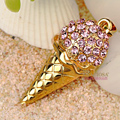 Bling Ice cream Alloy Crystal Rhinestone DIY Phone Case Cover Deco Kit 40*20mm - Pink