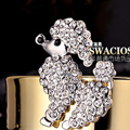 Bling Poodle dog Alloy Crystal Rhinestone DIY Phone Case Cover Deco Kit 45*40mm - White