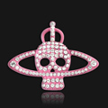 Bling Saturn Skull Alloy Rhinestone Crystal DIY Phone Case Cover Deco Kit - Pink