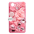 3D Flower Bling Crystal Case Rhinestone Cover shell for OPPO finder X907 - Pink