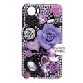 3D Flower Bling Crystal Case Rhinestone Cover shell for OPPO finder X907 - Purple