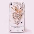Alloy grapes Bling Crystal Case Rhinestone Cover shell for iPhone 4G 4S - White