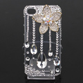 Alloy lotus flower Bling Crystal Case Rhinestone Cover shell for iPhone 4G 4S - White