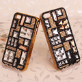 Cup chain Bling Crystal Case Rhinestone Cover shell for iPhone 4G 4S - Gold
