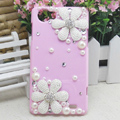 Daisy Flower Bling Crystal Case pearl Cover shell for OPPO finder X907 - Pink
