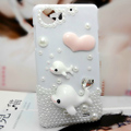 Dolphin Bling Crystal Case pearl Cover shell for OPPO finder X907 - White