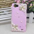 Flower Bling Crystal Case pearl Cover shell for OPPO finder X907 - Pink