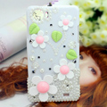 Flower Bling Crystal Case pearl Cover shell for OPPO finder X907 - White