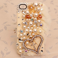 Heart Bling Crystal Case Pearl lace Cover shell for iPhone 5 - Beige
