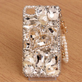 Heart Bling Crystal Case Rhinestone Cover shell for iPhone 4G 4S - White