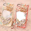 Heart Crown Alloy Bling Mirror Crystal DIY Cell Phone Case shell Cover Deco Den Kit