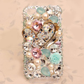 Luxury Heart Alloy Bling clear Crystal DIY Cell Phone Case shell Cover Deco Den Kit
