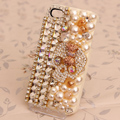Skull Bling Crystal Case Cup chain pearl Cover shell for iPhone 4G 4S - Beige