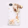 Tassels Rabbit Bling Crystal Case Rhinestone Cover shell for iPhone 4G 4S - White