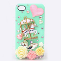 Trojan horse Bling Crystal Case Rhinestone Cover shell for iPhone 4G 4S - Green