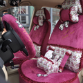 Bow Lace Universal Auto Car Seat Cover Set Short velvet 19pcs - Rose