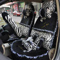 Bow Lace Universal Zebra Auto Car Seat Cover Set Short velvet 19pcs - Black