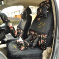 Floral print Bowknot Lace Universal Auto Car Seat Cover Set 21pcs ice silk - Black