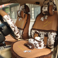 Floral print Bowknot Lace Universal Auto Car Seat Cover Set 21pcs ice silk - Coffee