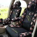 Floral print Lace Bowknot Universal Auto Car Seat Cover Set 21pcs ice silk - Black