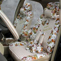 Floral print Stripe Lace Universal Auto Car Seat Cover Set 21pcs ice silk - Beige