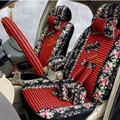 Floral print Stripe Lace Universal Auto Car Seat Cover Set 21pcs ice silk - Black Red