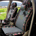 Floral print Stripe Lace Universal Auto Car Seat Cover Set 21pcs ice silk - Black White