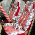 Floral print Stripe Lace Universal Auto Car Seat Cover Set 21pcs ice silk - Red