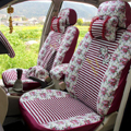 Floral print Stripe Lace Universal Auto Car Seat Cover Set 21pcs ice silk - Rose