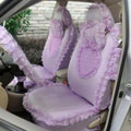 Heart Bud Lace Universal Auto Car Seat Covers 19pcs - Purple